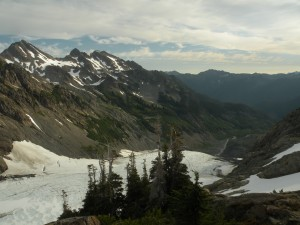 View down the Hoh Glacier to the start of the Hoh River from Camp Pan